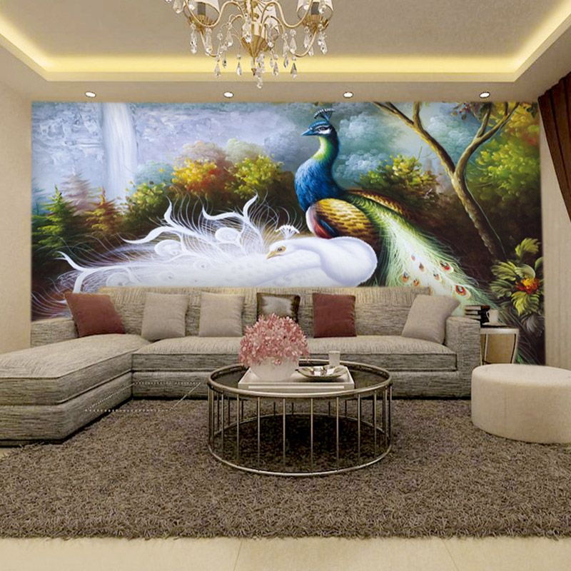 Entranceway sofa background wall mural fashion wallpaper