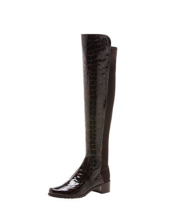 Reserve Crocodile-Embossed Back-Stretch Boot by Stuart Weitzman at Bergdorf Goodman.
