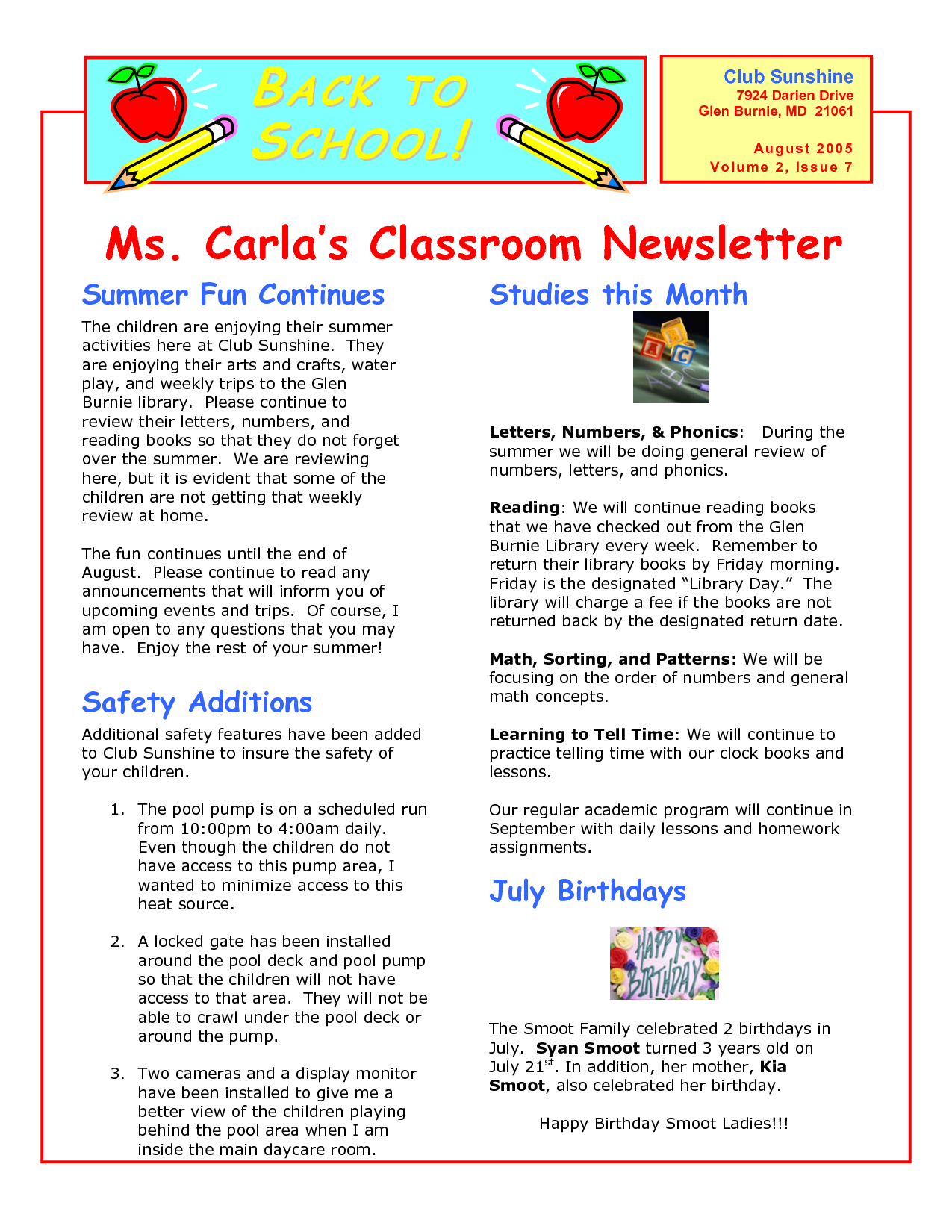 Classroom Newsletter Templates Wallpapersupnet XbeddOs  Teaching