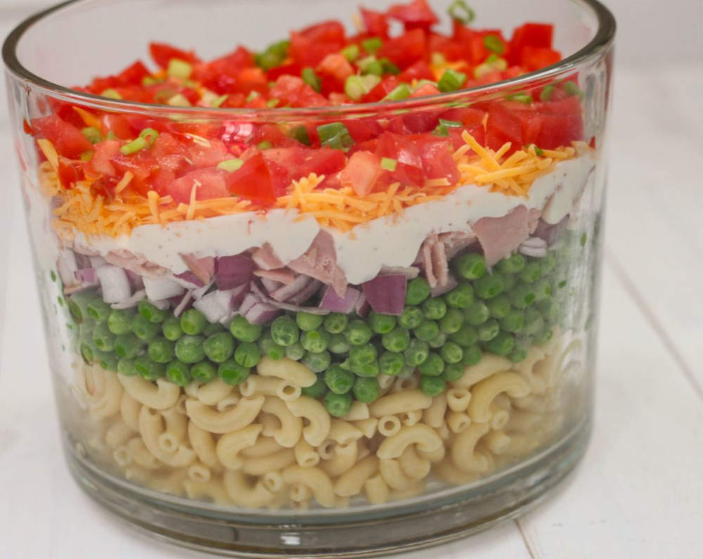Layered Pasta Salad The Farmwife Cooks In 2020 Layered Pasta Layered Salad With Peas Pasta Salad