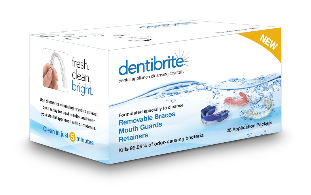 Dentibrite cleaning crystals for retainers aligners