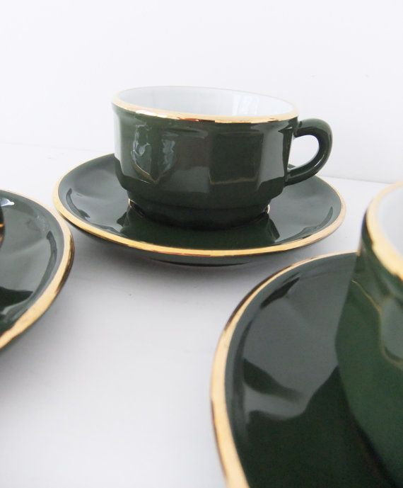 Apilco Porcelaine Coffee Cups And Saucers 3 Bistro Style Avocado Gold France