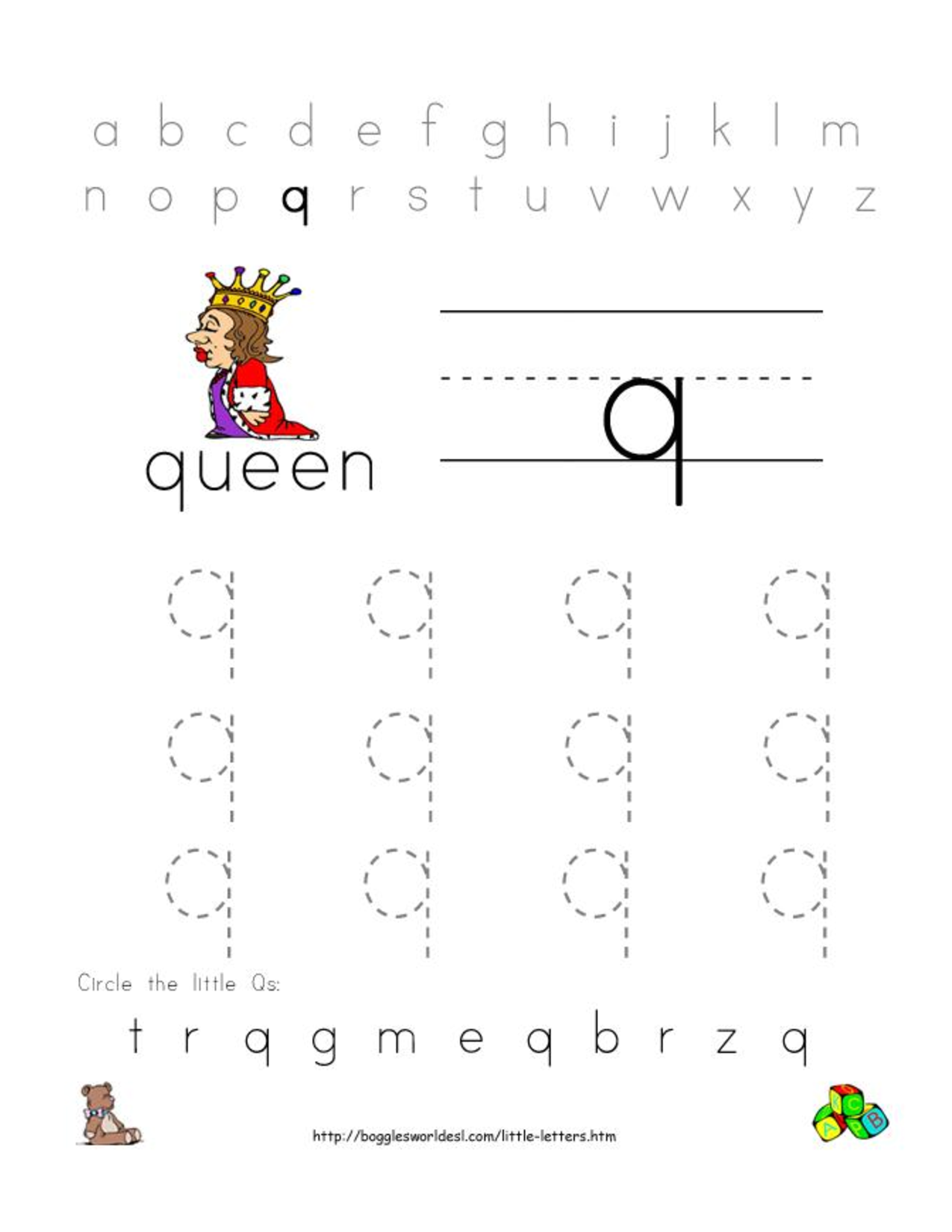 Alphabet worksheets for preschoolers alphabet worksheet little alphabet worksheets for preschoolers alphabet worksheet little letter q robcynllc Image collections