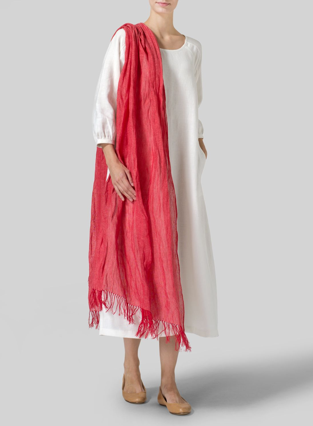 Linen handcrafted red long scarf vividlinen and other faves