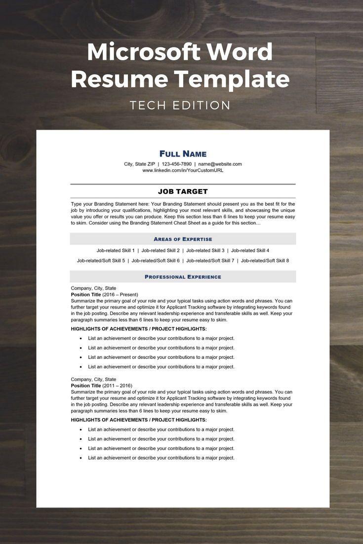 Tech Edition Modern Resume Template Microsoft word