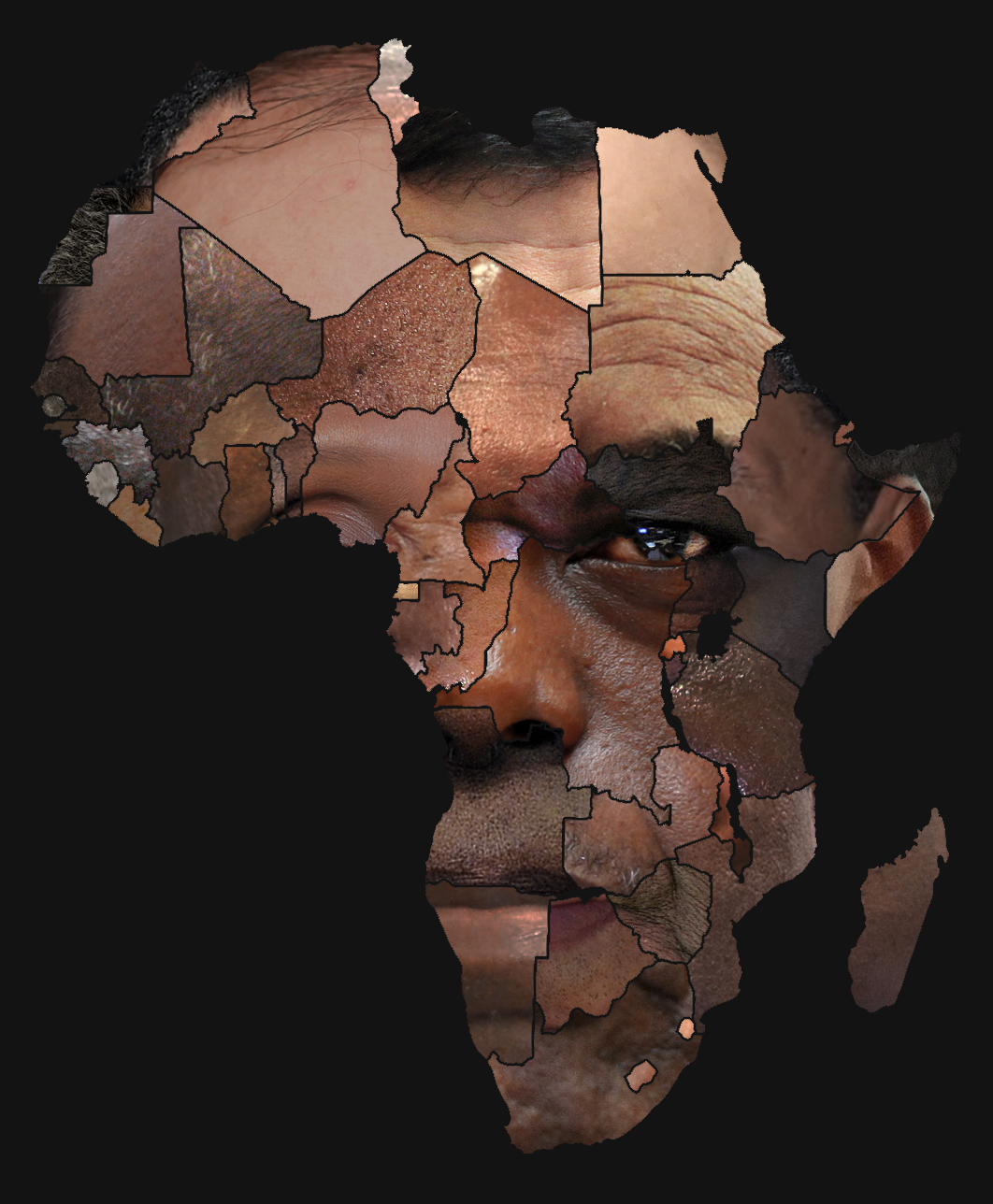 A Face Made From African Heads Of State African Drawings Africa Art African Paintings