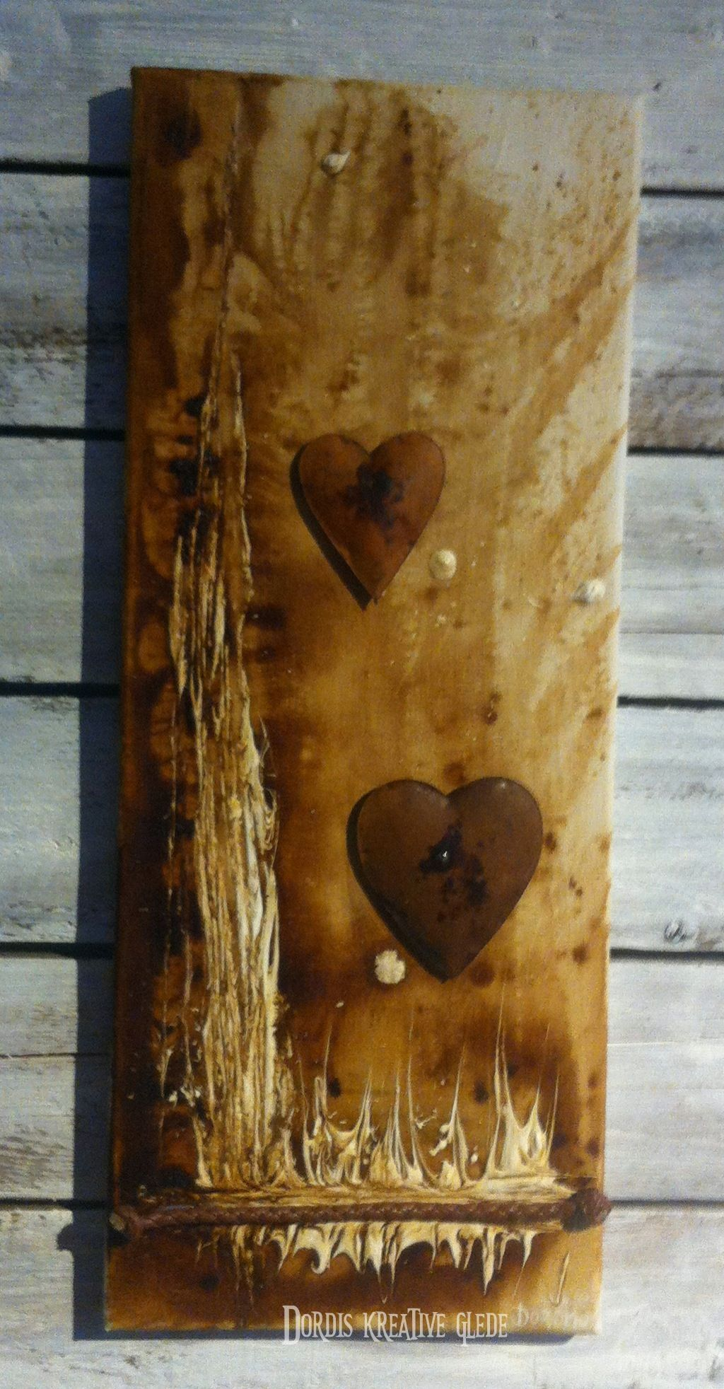 """Hjerter/hearts"" Painted with coffee and acrylic, and rustic hearts"