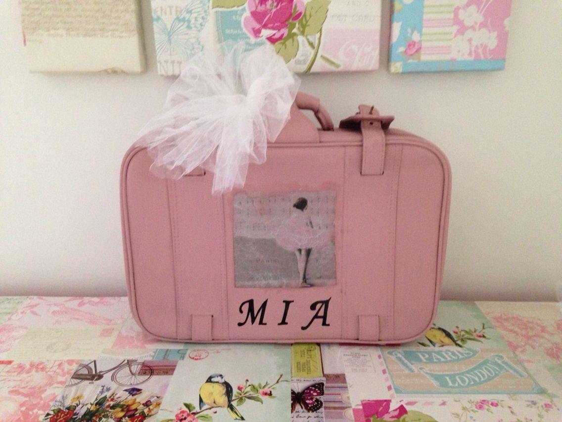 Vintage memory suitcase . Ballerina . Painted in wedgewood pink ...