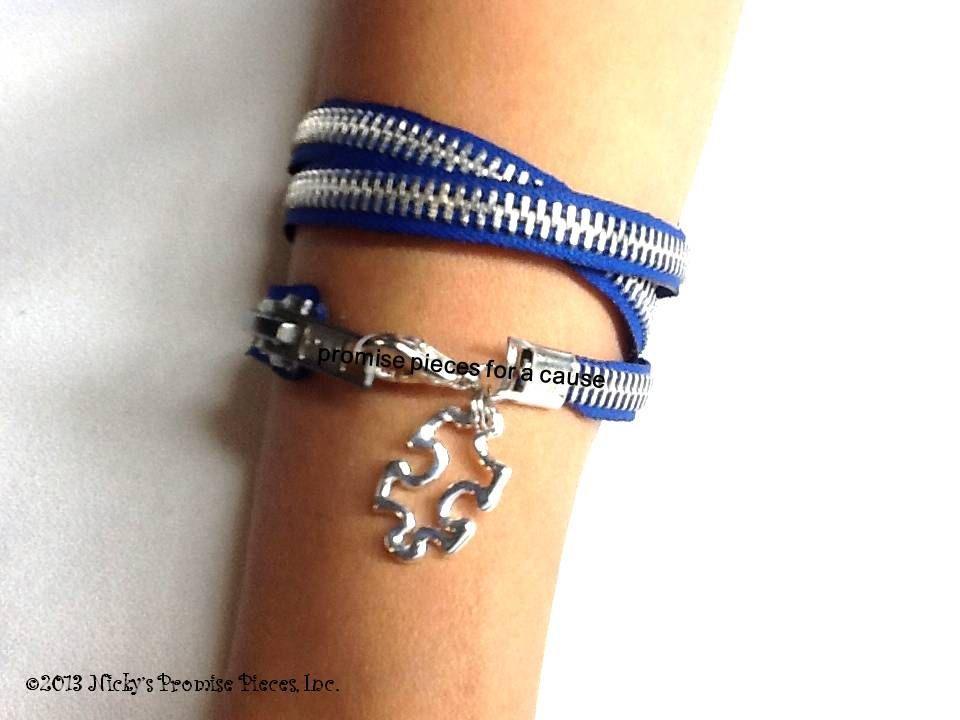 Autism Puzzle Piece Zipper Bracelet by NickysPromisePieces on Etsy