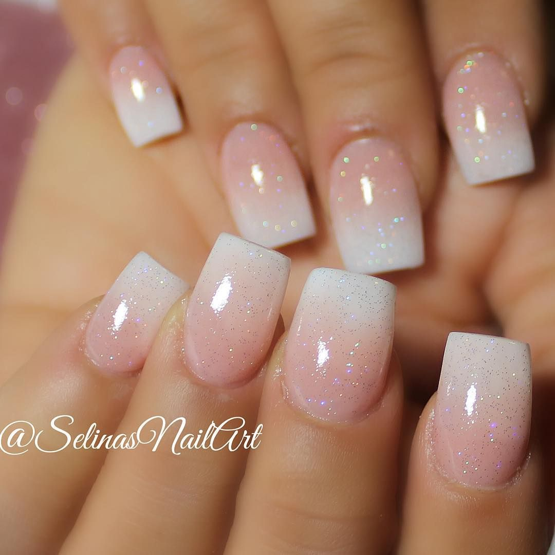 Faded French acrylic set with @inmnails northern light silver holo ...