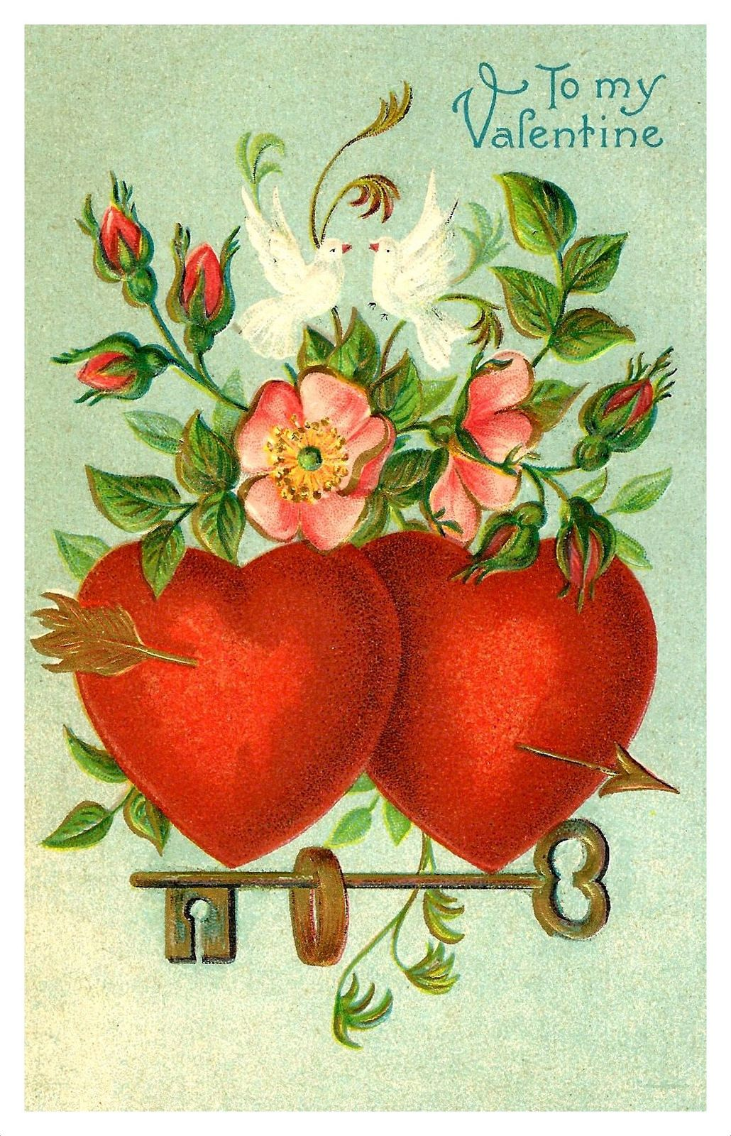 vintage valentine postcard to my valentine made in germany a s b vintage valentine card. Black Bedroom Furniture Sets. Home Design Ideas