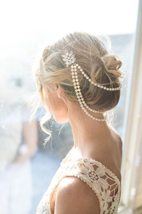 pearl bridal hair chain vintage style bridal hair wrap wedding pearl draped hair comb pearl hair accessory vintage halo ana