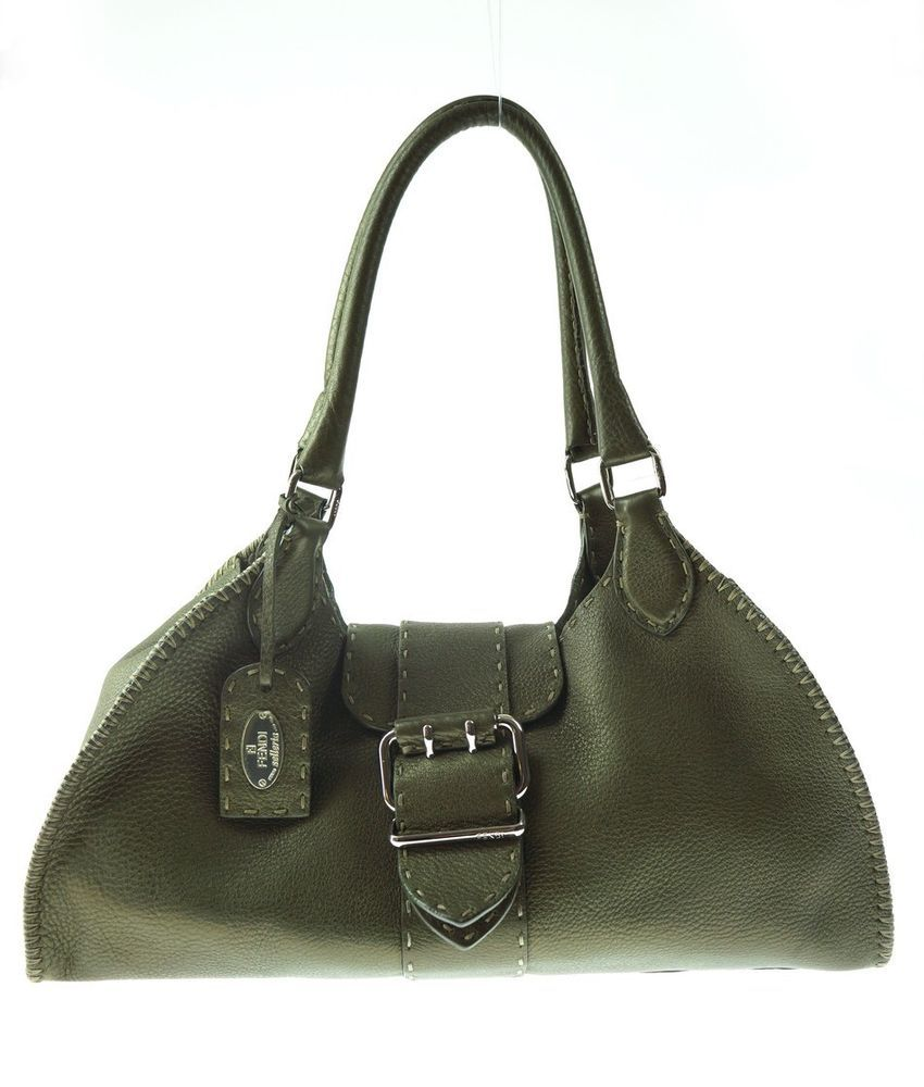 b98e2ff4aded Fendi Selleria Olive Green Metallic Leather Shoulder Bag Handbag Purse   Fendi  HandleBag