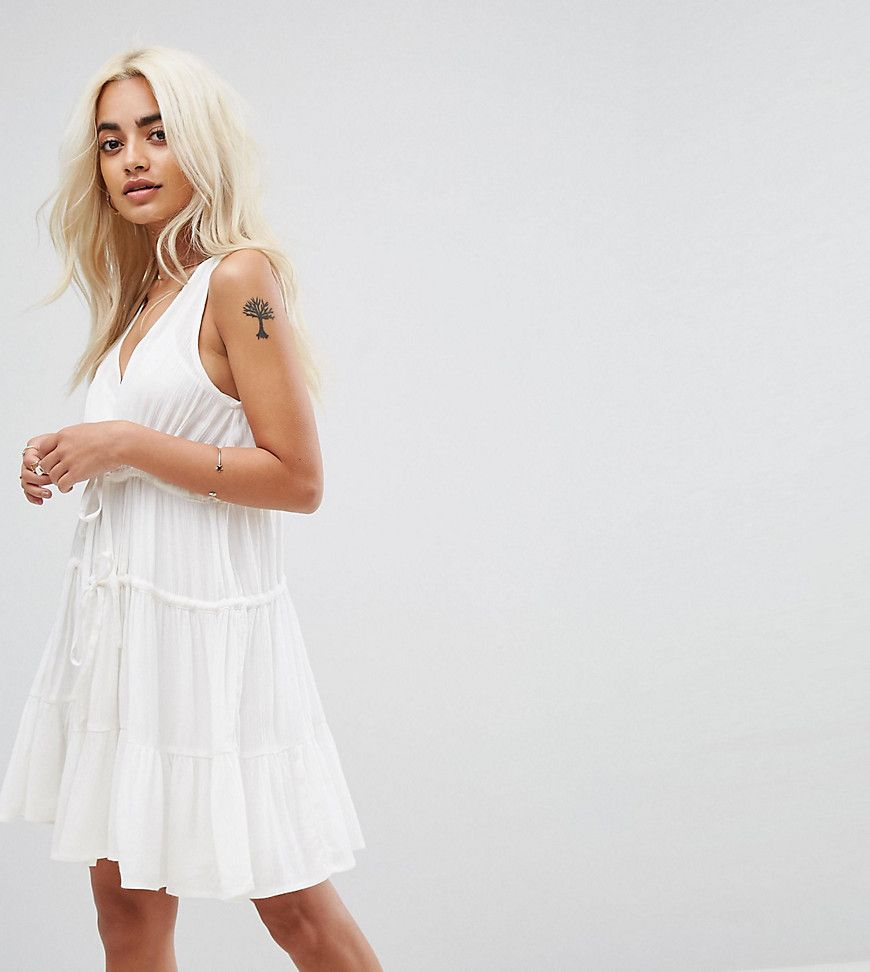 Asos petite tiered trapeze mini sundress white products