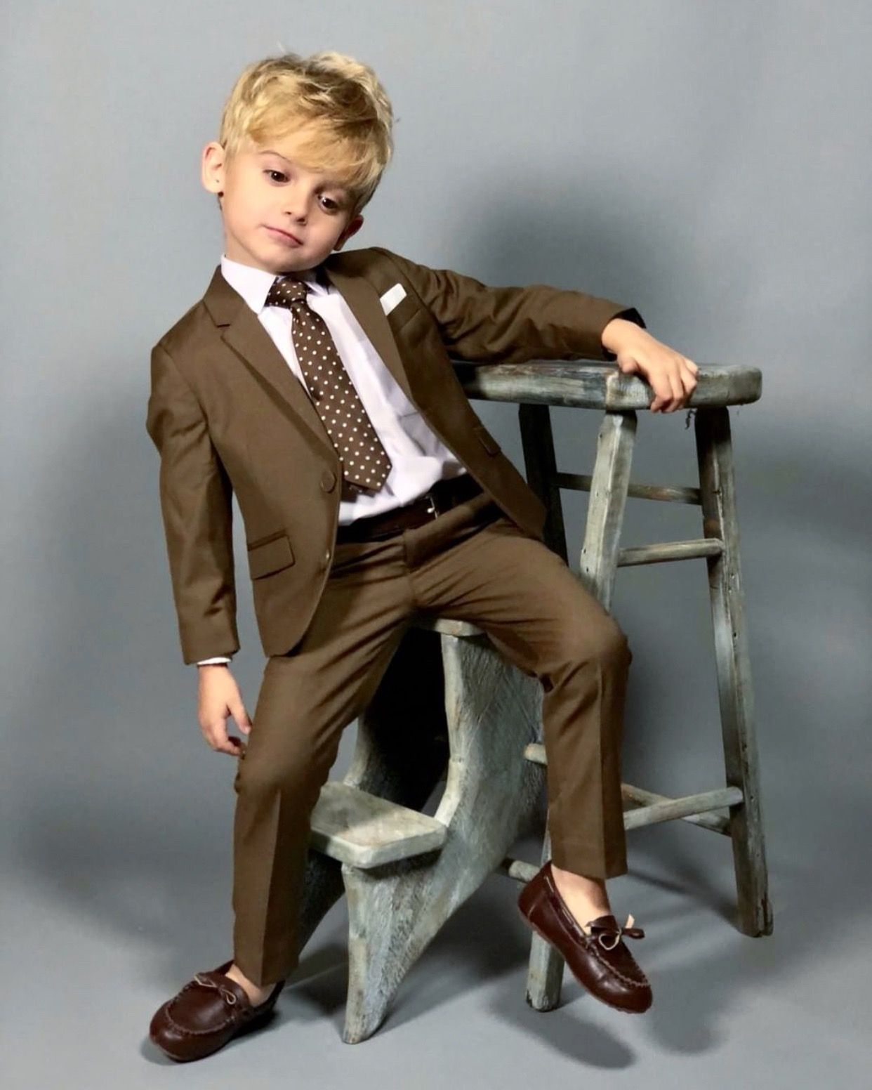 3883557c0512 First Class Boys  Slim Fit Three Piece Suit in Coco Brown