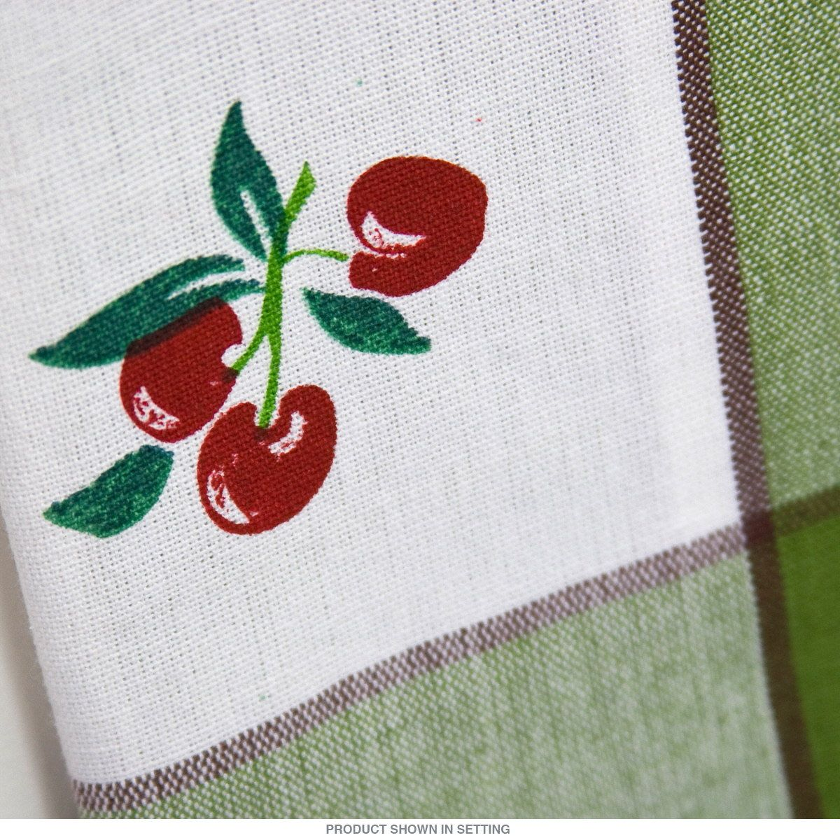 Green Kitchen Towels Cabinet Kings Border Cherry Flour Sack Towel Cherries