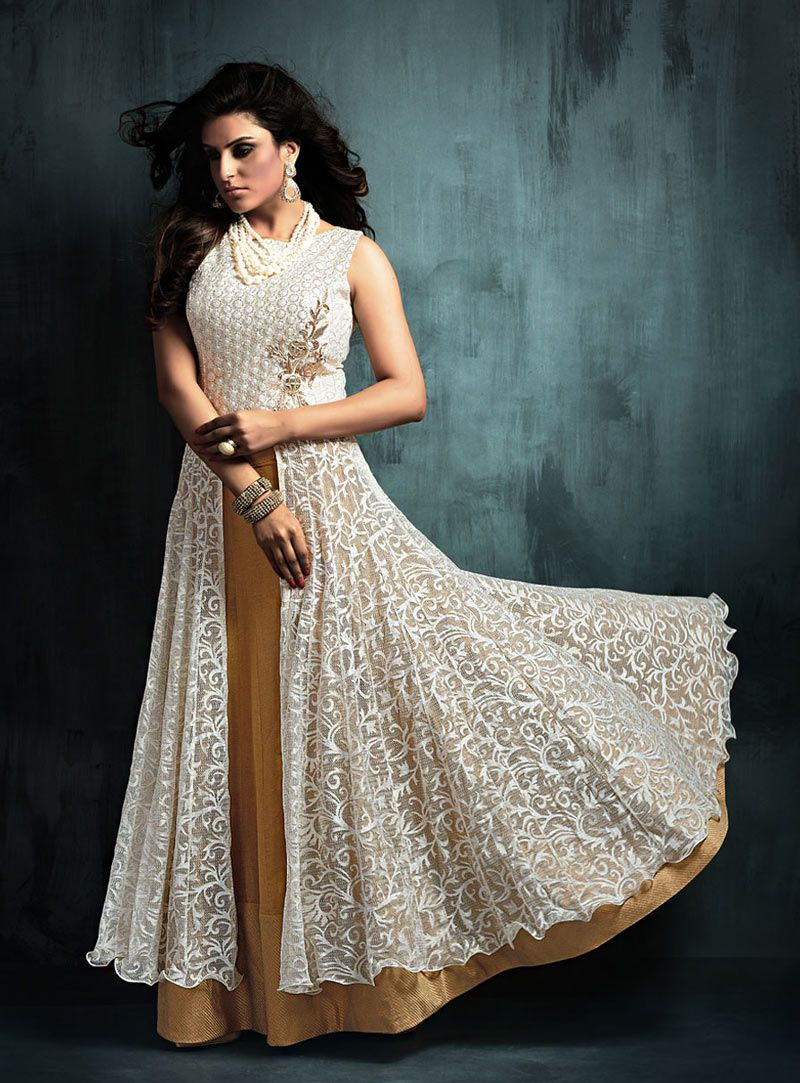 Buy off white art silk indo western lehenga choli online at