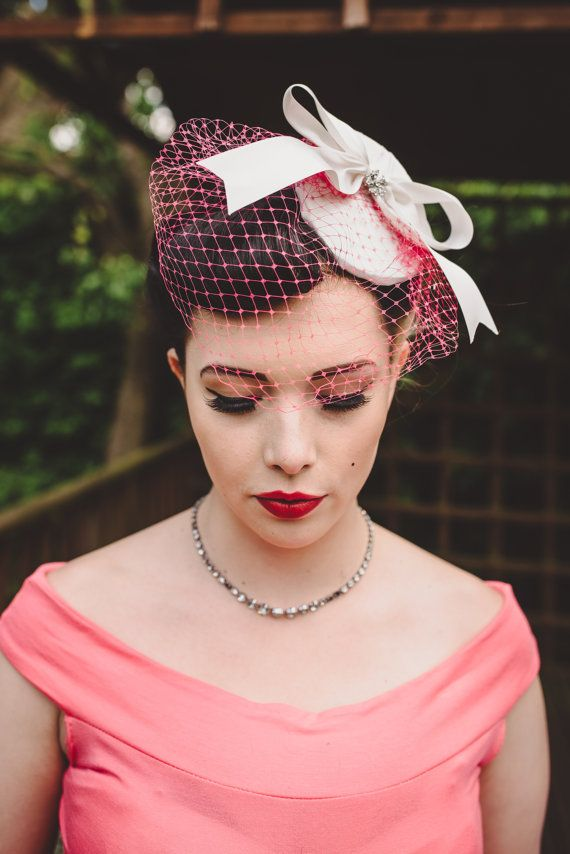 Fascinator Saucer Hat Pill Box Veil Wedding 1950s Flat Bridal