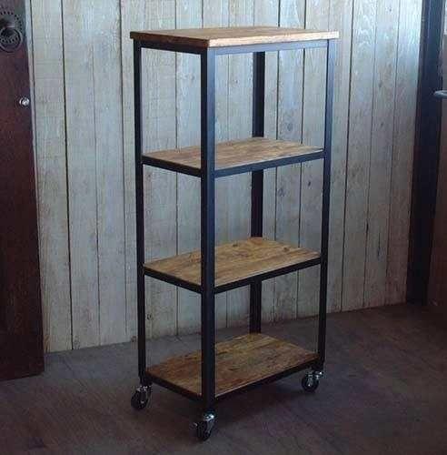 Estanter a industrial madera y hierro biblioteca rustica - Estanterias hierro forjado ...