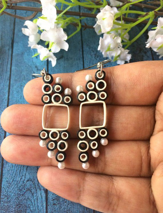 Schwarz weiße geometrische jeden Tag baumeln Ohrringe, beste Freundin Geburtstagsgeschenk, Papier Quilling, Art-Deco-Ohrringe, monochrome leichten Schmuck