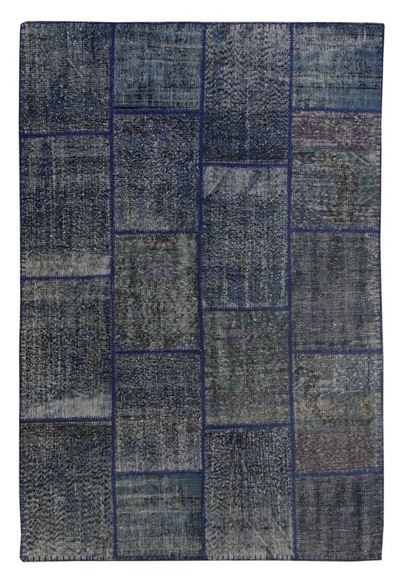 Navy Blue Outdoor Rug 8x5 Patchwork Carpet By Theorientbazaar