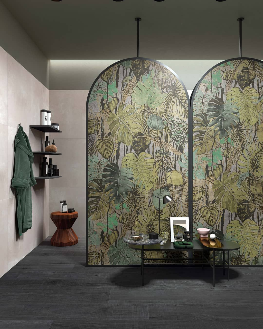 Arc Moderne The Forest : moderne, forest, Jungle, Style, Salle, Bains, Naturelle