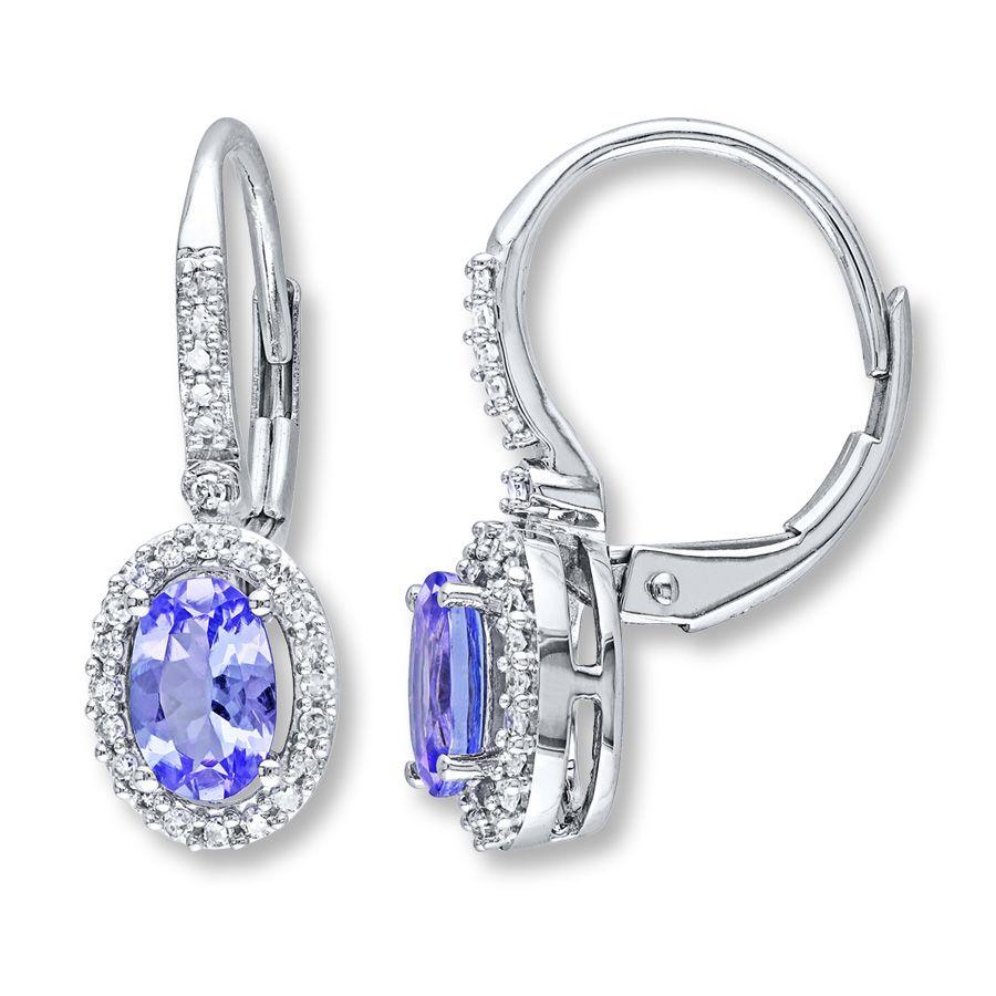 Tanzanite Earrings 1 5 Ct Tw Diamonds 10k White Gold Tanzanite Earrings Shop Earrings White Gold