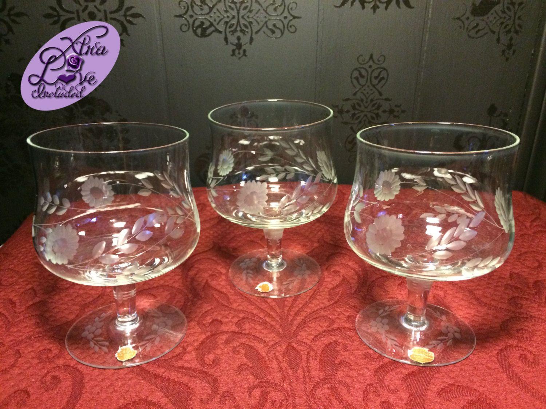 3 Vintage Arcadia Hand Made Bulgaria Crystal Glasses Crystal Handmade Vintage Crystals