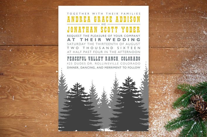 enchanted forest wedding invitations by twobirds paperie at mintedcom - Camping Wedding Invitations