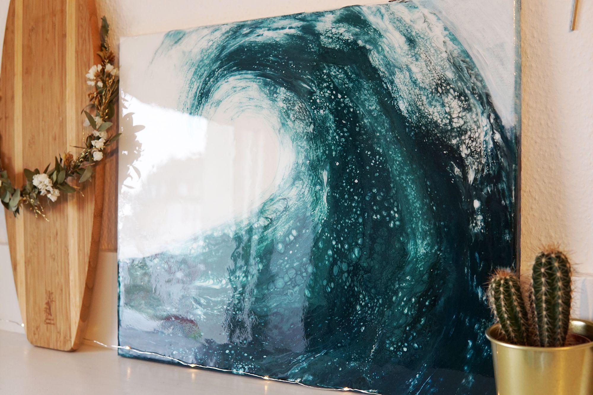 wave acrylic pouring 40 x 50 cm ocean canvas sea waves epoxy resin einzigartige kunst ozean leinwand angebote günstige fotoleinwand online bestellen