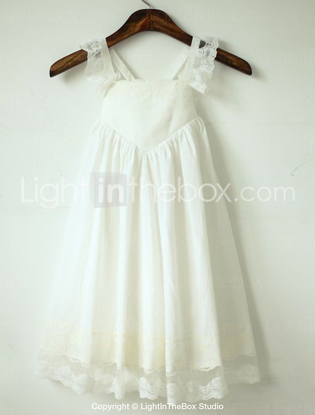 A-line Tea-length Flower Girl Dress - Cotton / Lace Sleeveless Straps with 2017 - $47.49
