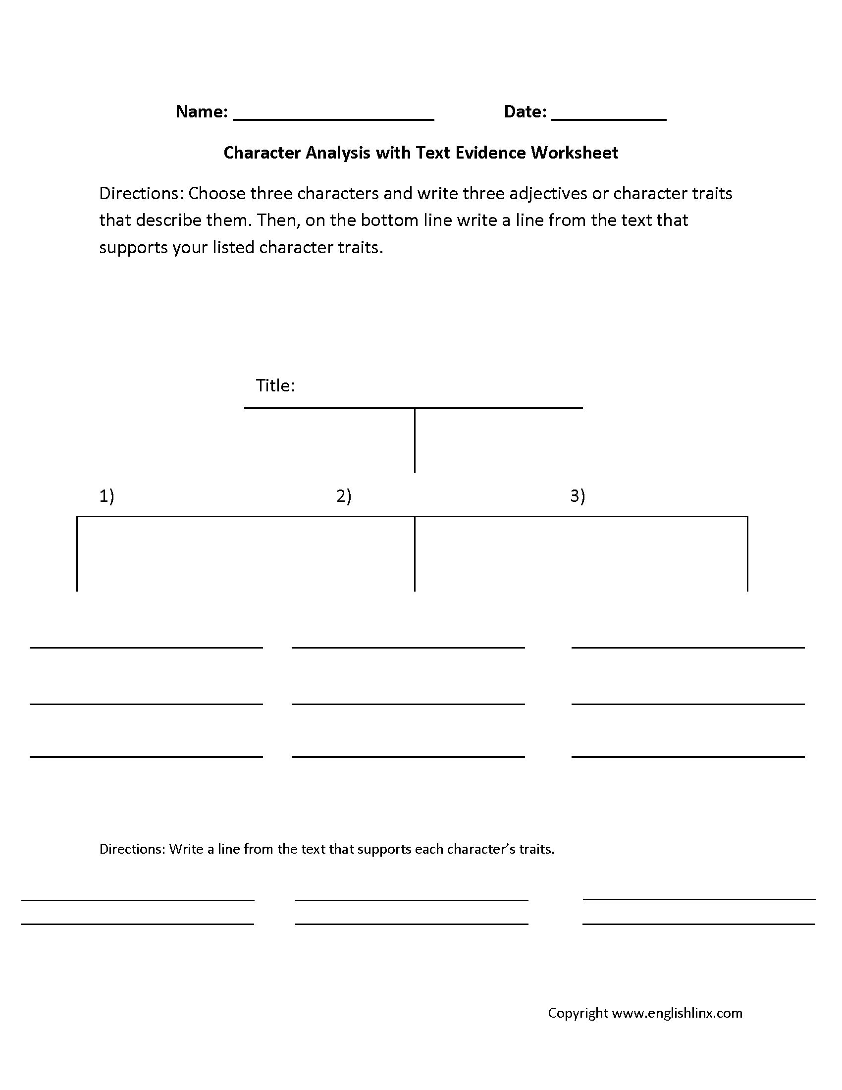 Character Analysis Worksheets   Text evidence [ 2200 x 1700 Pixel ]