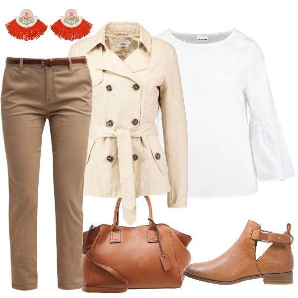 9af2bd8e7d2a Ho creato questo abbinamento con un pantalone di cotone, camicia bianca a  scollo tondo, giacca leggera con chiusura bottoni e cintura in vita; ...