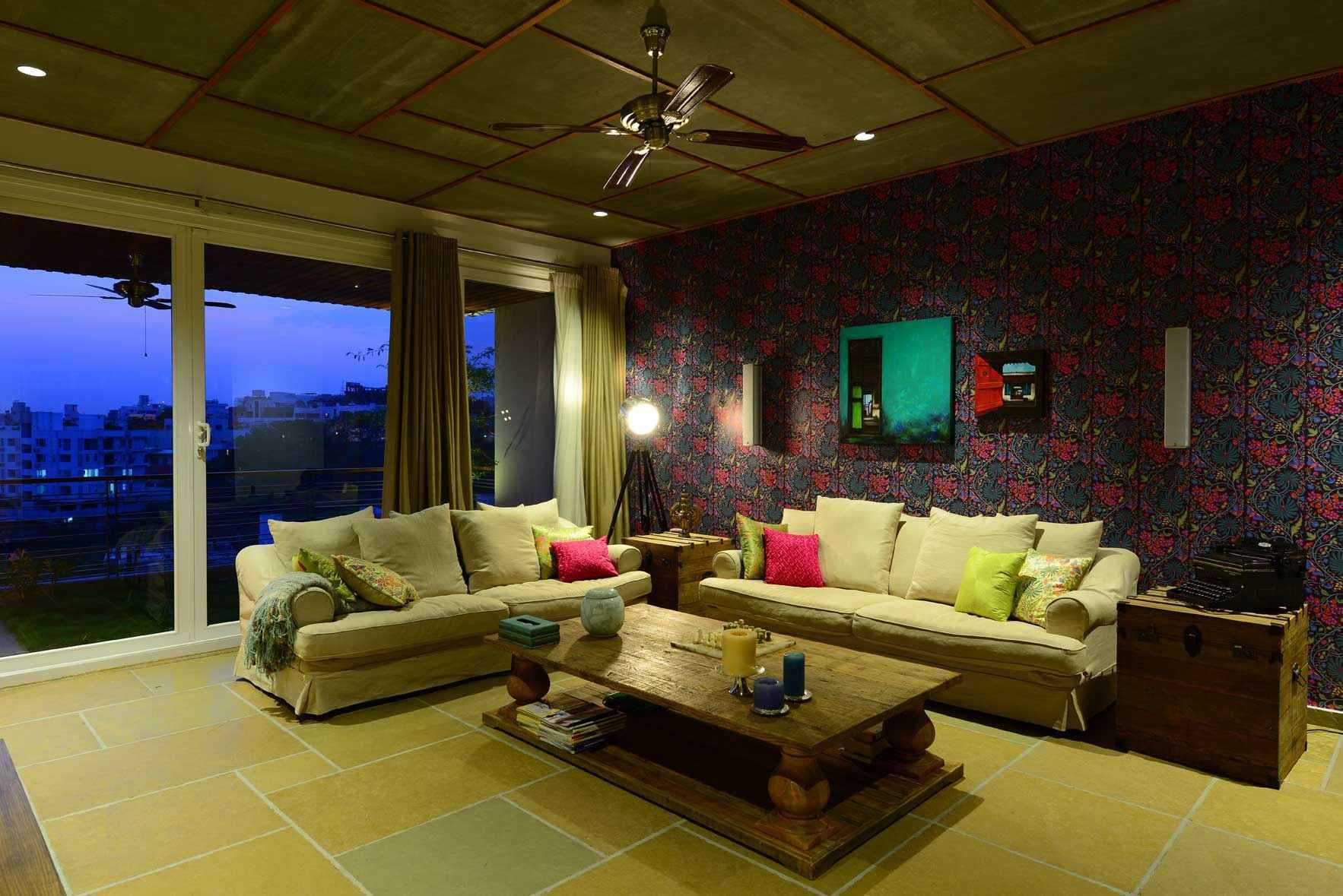 large living room with wallpaper design by hameeda sharma