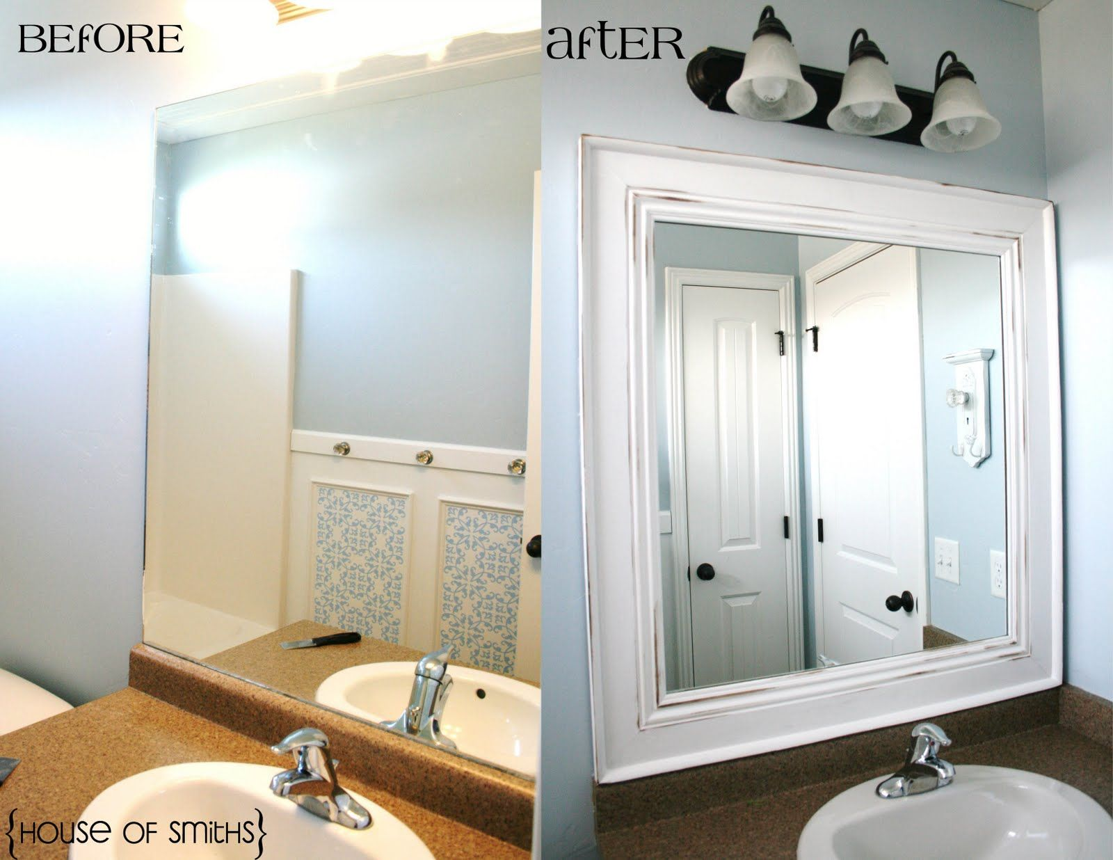 Another Amazing Bathroom Mirror Transformation I Like Having Large Mirrors In The Great Update To Existing