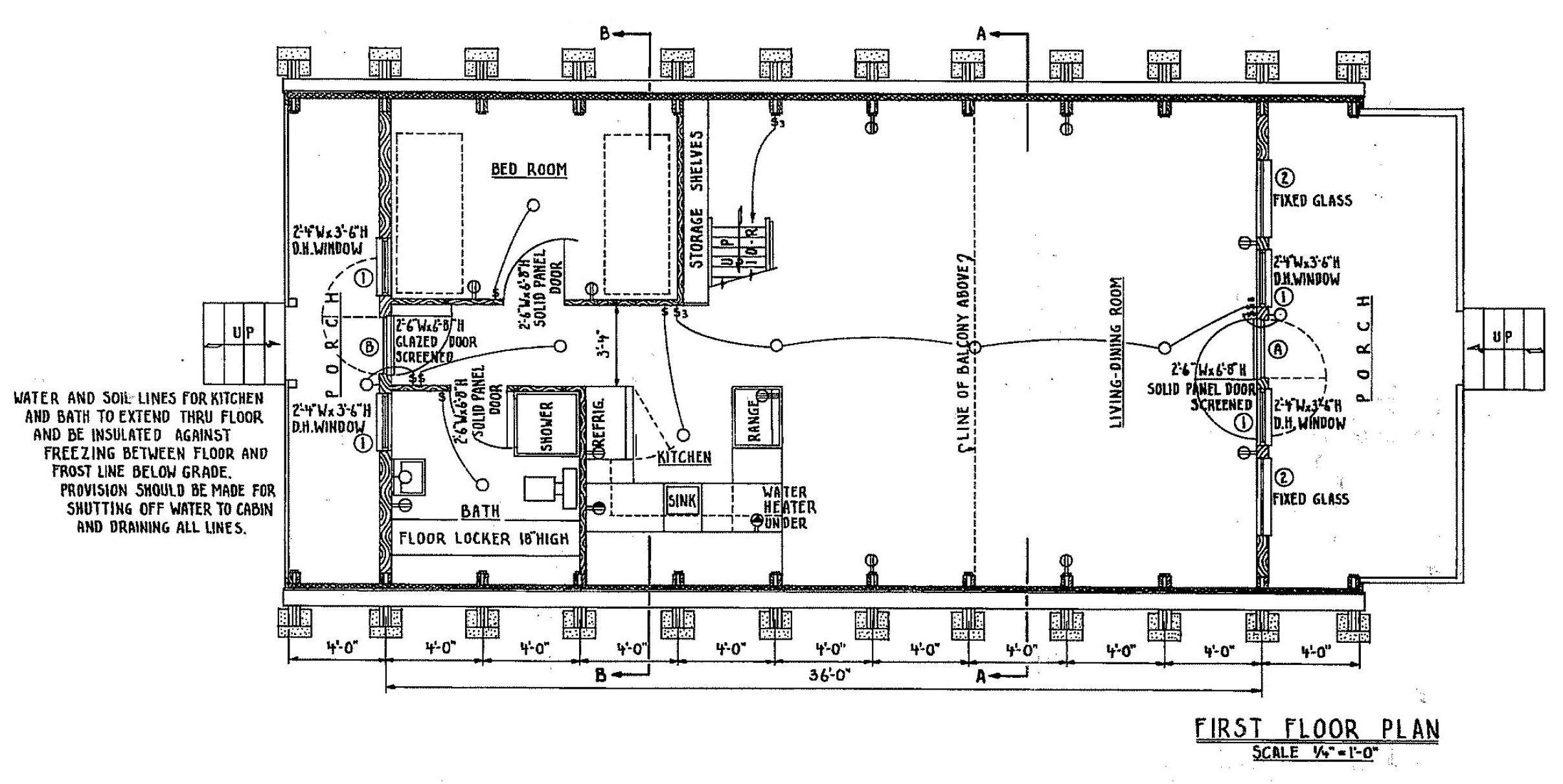 A Frame Home Floor Plan Design, 3 bedroom 1 bath, 36 by 20 feet ...