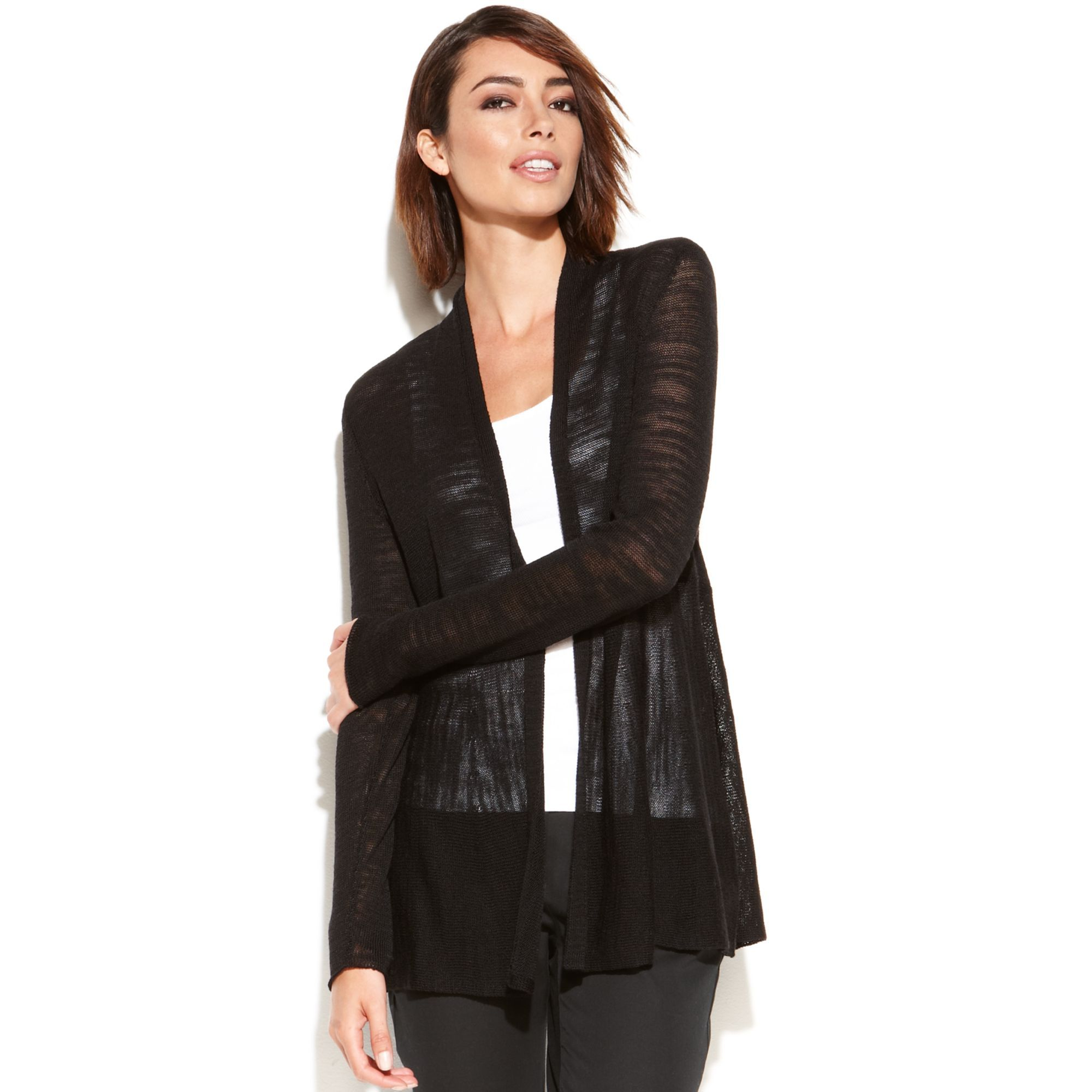 Women's Black Longsleeve Sheer Openfront Cardigan | Eileen fisher ...
