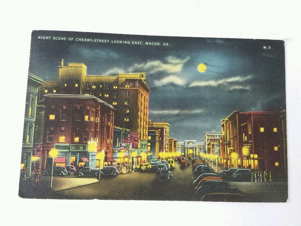 Ga cherry street macon postcard old vintage card