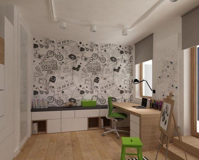 kleines kinderzimmer einrichten ideen junge schreibtisch schranke sitzbank tapete motiv. Black Bedroom Furniture Sets. Home Design Ideas