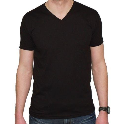 New Noveno Mens Fitted Jet Black V Neck T Shirt Premium Fit Plain Blank Tee   31480b5efb