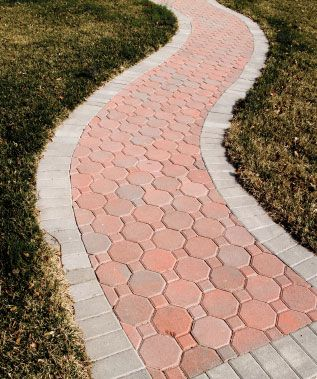 a meandering walkway using two different interlocking paving stones front porch ideas - Paver Walkway Design Ideas