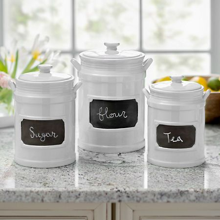 White Chalkboard Kitchen Canisters Set Of 3 Turquoise Kitchen
