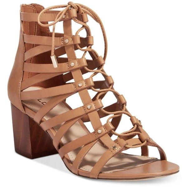 Aldo Women's Myssi Lace-Up Block Heel Sandals ($90) ❤ liked on Polyvore