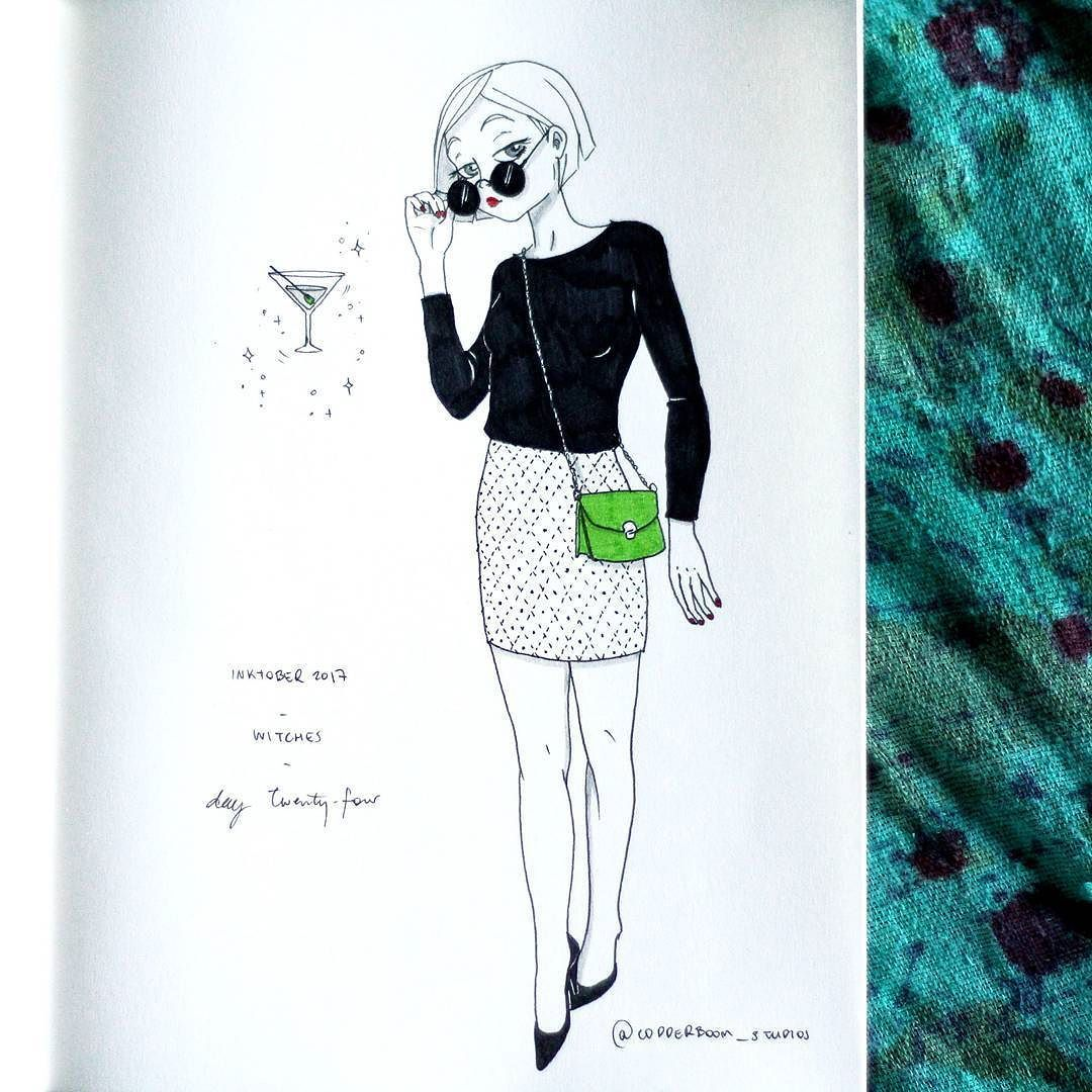 Inktober 2017 - day twenty-four - socialite witch  - #inktober #inktober2017 #witchtober2017 #witchtober #thefrenchinktober #drawing #ink #illustration #witch #socialite #socialitewitch #martini #cocktail