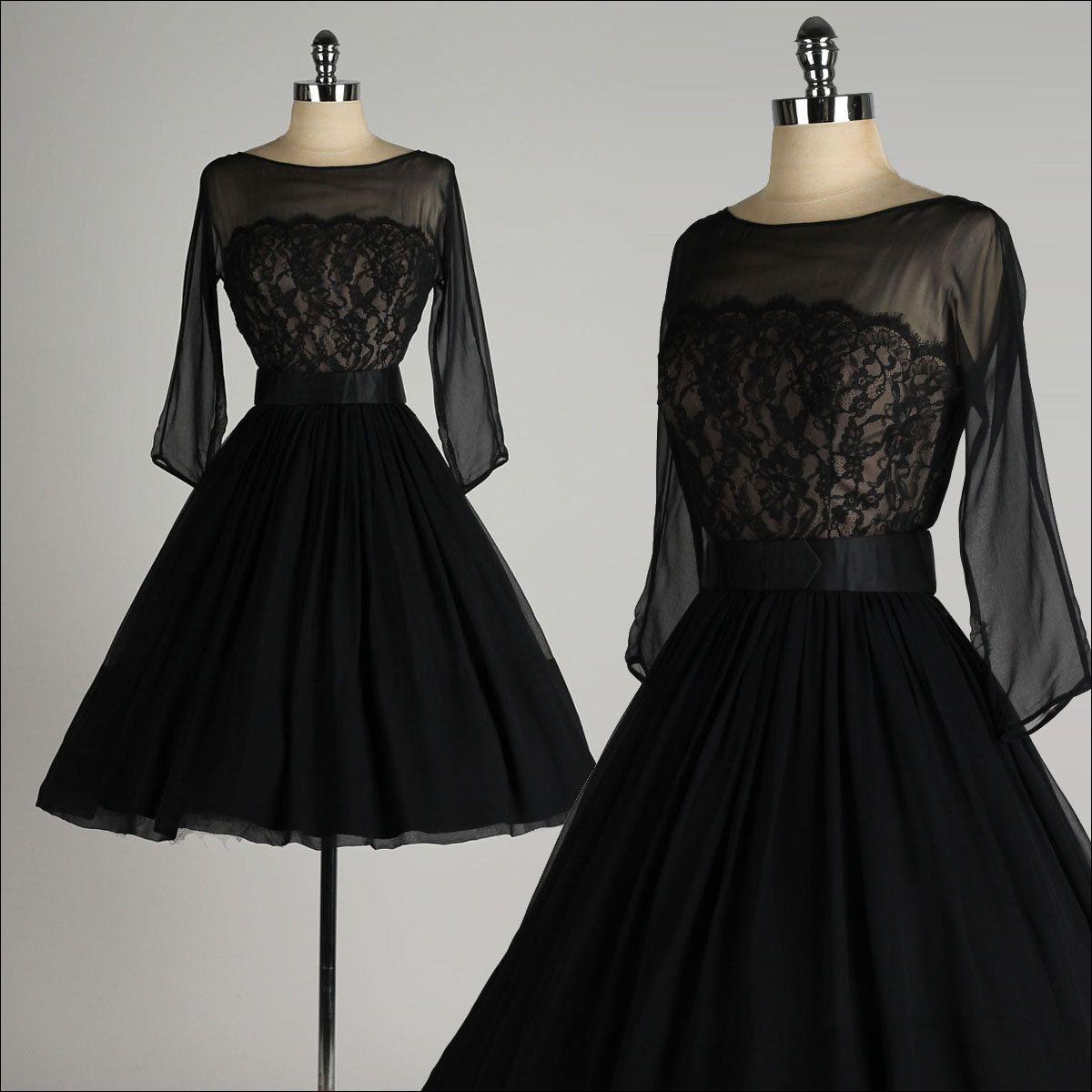 vintage 1950s dress . black chiffon . lace by millstreetvintage