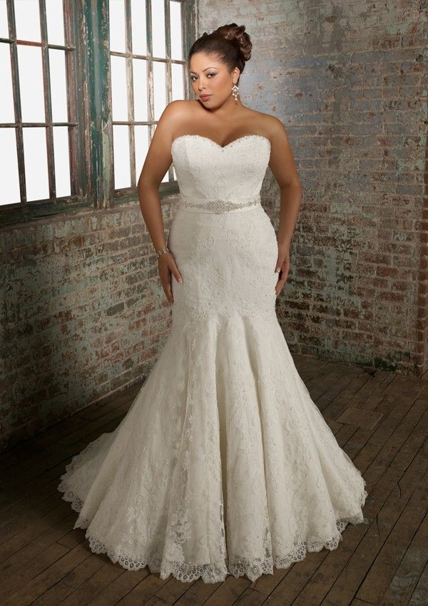 Beaded Fit-and-flared / Trumpet Sweetheart Court Train Lace Plus ...