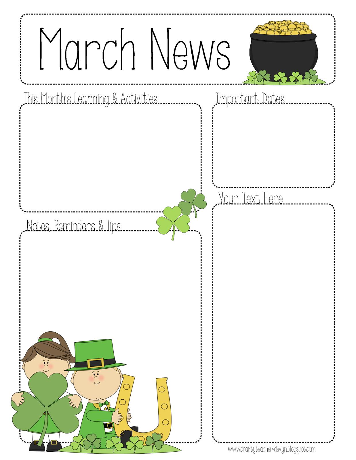 March Newsletter Classroom Newsletter Template Teacher Newsletter Template Classroom Newsletter