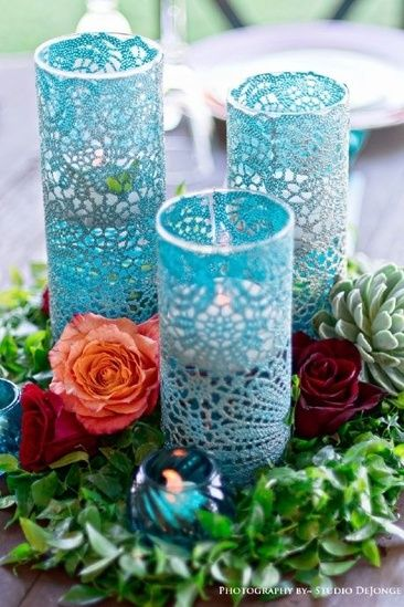 The Chic Technique Wedding Centerpiece With Lacy Blue