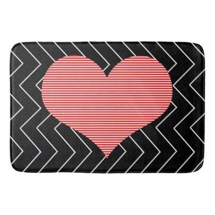 Abstract Geometric Pattern Heart Zigzag Bath Mat Zazzle Com