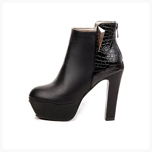 Women's High-Heels Pointed Closed Toe PU Low-Top Solid Zipper Boots Black-Rivet 36
